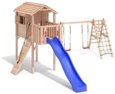 Klettergerüst Bauhaus : Spielturm holz kinderspielhaus mit schaukel spielhaus paradies