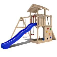 Spielturm mit Rutsche und Schaukel